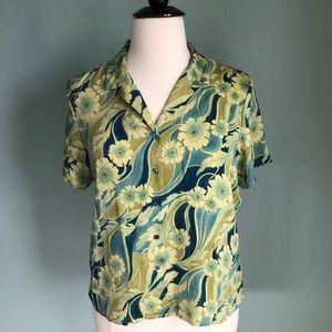 Tommy Bahama silk short sleeved blouse size 16